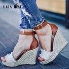LALA IKAI Summer Wedge Sandals Women Platform Sandals Peep Toe Mixed Color Buckle Strap High Heels Party Shoes 014C3430-45