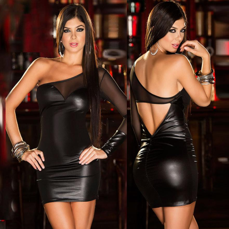 4e65ac9e25f Aliexpress.com : Buy Women One Shoulder Sexy Lingerie Mesh Backless Dress  Babydoll Clubwear Latex Erotic Dress Vestidos Grote Maten from Reliable  maten ...