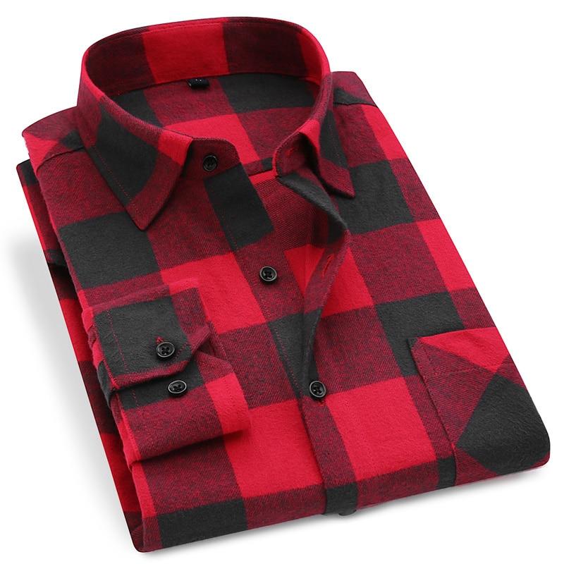 Men Flannel Plaid Shirt 100% Cotton 2020 Spring Autumn Casual Long Sleeve Shirt Soft Comfort Slim Fit Styles Brand Man Plus Size 1
