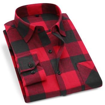 Men Flannel Plaid Shirt 100% Cotton 2019 Spring Autumn Casual Long Sleeve Shirt Soft Comfort Slim Fit Styles Brand Man Plus Size 1