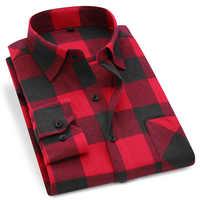 Mężczyźni kratę flanelowa koszula 100% bawełna 2019 wiosna jesień na co dzień koszula z długimi rękawami miękkie Comfort Slim Fit style marka Man ubrania