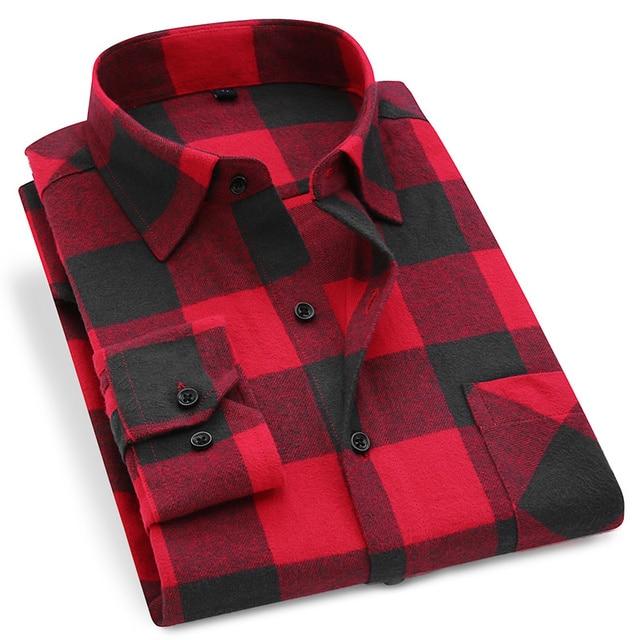 Men Plaid Shirt 100% Cotton Shirt Soft Comfort Size