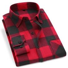 Men Flannel Plaid Shirt 100% Cotton 2019 Spring Autumn Casual Long Sleeve