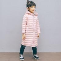 Fashion Children Winter Jacket Girl Boy Coat Kids Warm Soft Collar Hooded Long Down Cotton Coats For Kids 4 6 8 10 12 Years