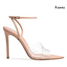Aiyoway 2019 Spring Women Shoes Pointed Toe High Heels PVC Sandals Cross Strap Ankle Buckle Ladies Wedding Party Dress