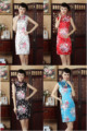 Free shipping 2017 new sale traditional chinese dress silk cheongsam Charming Chinese women's bue dress sexy dress 4 color J502X