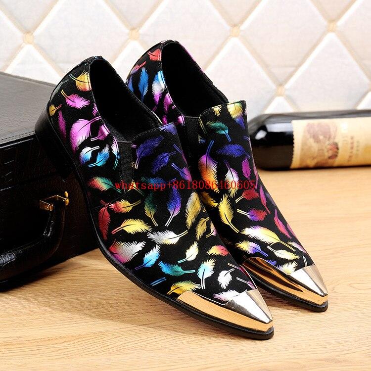 Apontou Sapatos As Deslizamento Misturadas Salto Alto Britânico Couro Estilo De Veludo Toe Chinelos Cores Dos Homens Italiano Ouro Picture Em pxIxUtPq