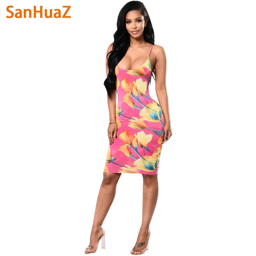 61a1b732b1 SanHuaZ New 2018 Summer Beach Printed Floral Boho Bohemian Backless Sexy  Club Party Bodycon Pencil Women