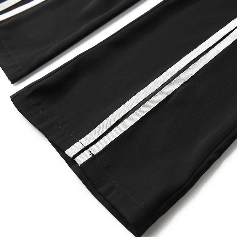 Sans See Pantalon Mousseline Mode 2 Deux De Split Ensemble Soie Jeans Chart Ensembles Bord Doublure Costumes Vêtement Pièces Contraste Couleur Haut Femmes Pièce Évasés PBPOxIwq