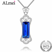 Almei 12ct Ocean Blue Rectangle Corundum Hollow Pendant Necklace Jewelry 925 Sterling Silver Chinese Style Gift withBox 40%FN067