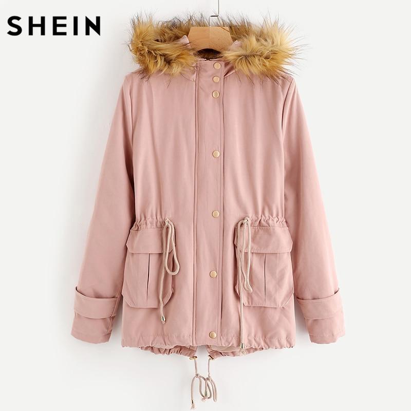 SHEIN Faux Fur Trim Hood Drawstring Detail Parka Coat Winter Coats Ladies Pink Long Sleeve Zipper Hooded Womens Coat
