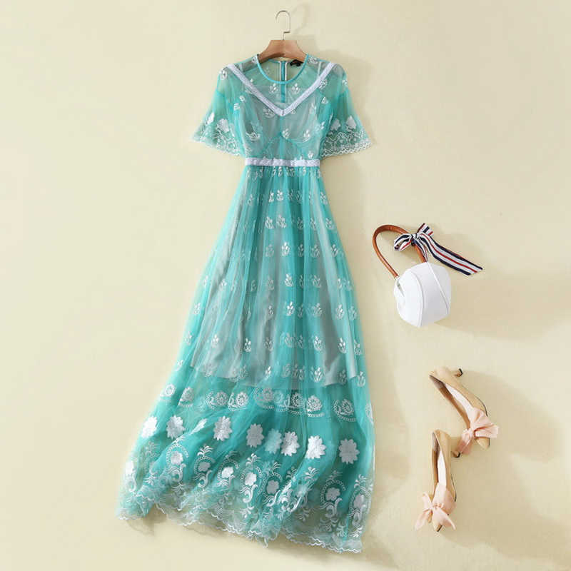 2018 Spring Long Dress Wedding Party Women Floral Embroidery Short ...