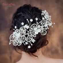 YouLaPan HP246 Bridal hair accessories vintage accessory Milk Rhinestone formal headgear Pearl diadem for the bride