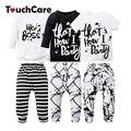 2 PCS bebê Recém-nascido Bonito Do Bebê Do Algodão Conjunto de Roupas Infantis Da Menina do Menino Letra Impressa T-shirt + Calças Crianças Roupas macio Criança Outfits