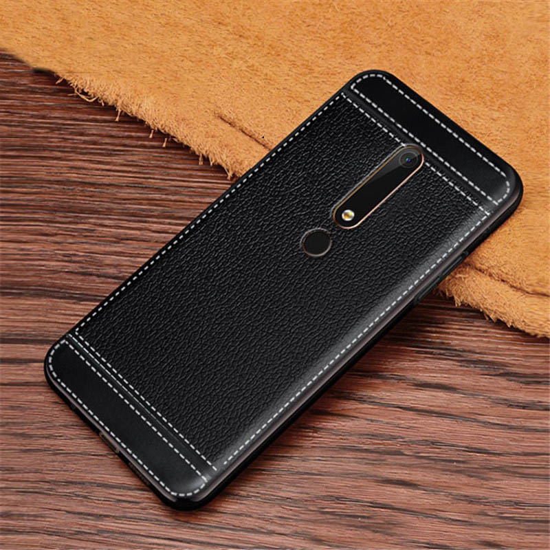 For <font><b>Nokia</b></font> 6 2017 TA-1033 TA-1003 Case Leather Textured Soft <font><b>TPU</b></font> Back Case For <font><b>Nokia</b></font> 6 <font><b>6.1</b></font> 2018 TA-1068 TA-1050 TA-1043 TA-1016 image