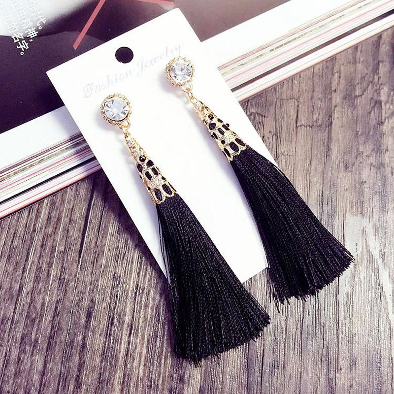 Bohemian Tassel Earrings for Women Girl Vintage Fashion Simple Alloy Long Dangle Earring Jewelry Gift Random Color