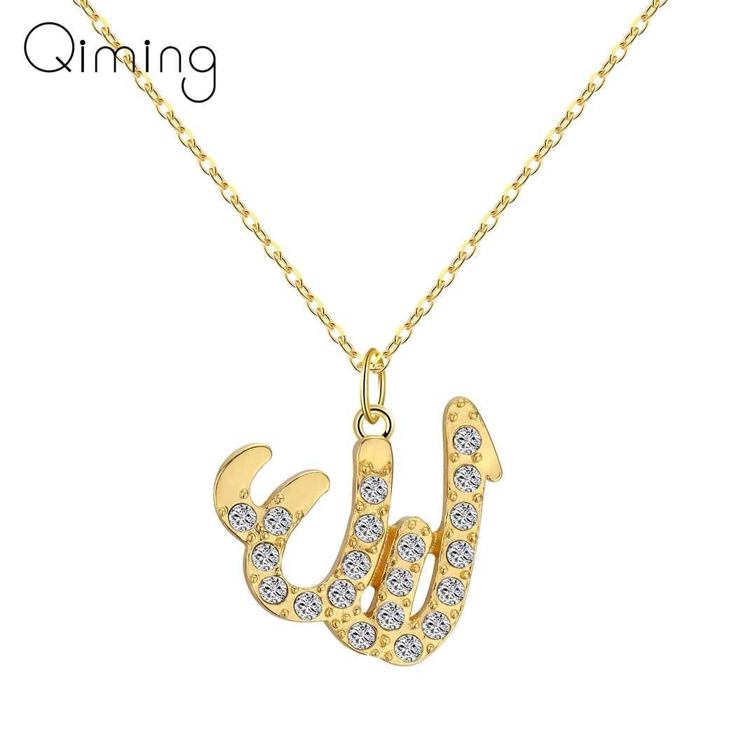 Islamski złoty Allah Petite arabski naszyjnik religijna wiara muzułmańska arabski Kuran Doa biżuteria nazwa bóg wisiorek naszyjnik prezent kobiety