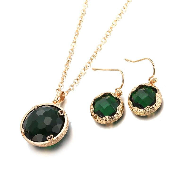 Garilina Latest Design Gold Green Stone Choker Pendant Earrings