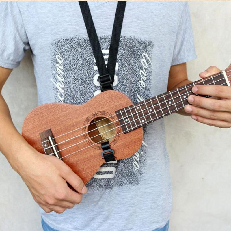 Adjustable Ukulele Strap Guitar Mandolin Instrument Hook Black Guitar Accessories Black Hang Neck Musical Instruments Neck Strap