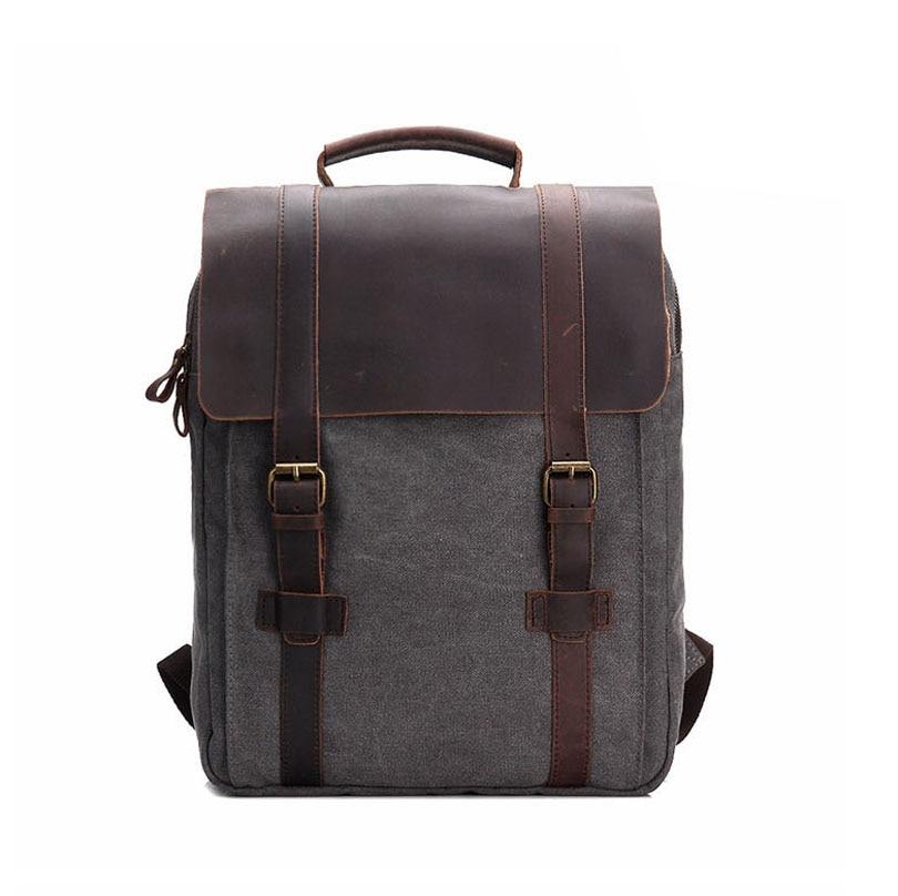 Men/Canvas Backpack Genuine Leather Vintage School Bag Rucksack Leisure Travel Bag  Laptop Backpacks