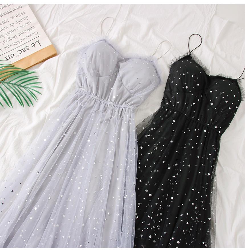 Sweet Mesh Spaghetti Strap Star Sequins Dress 3