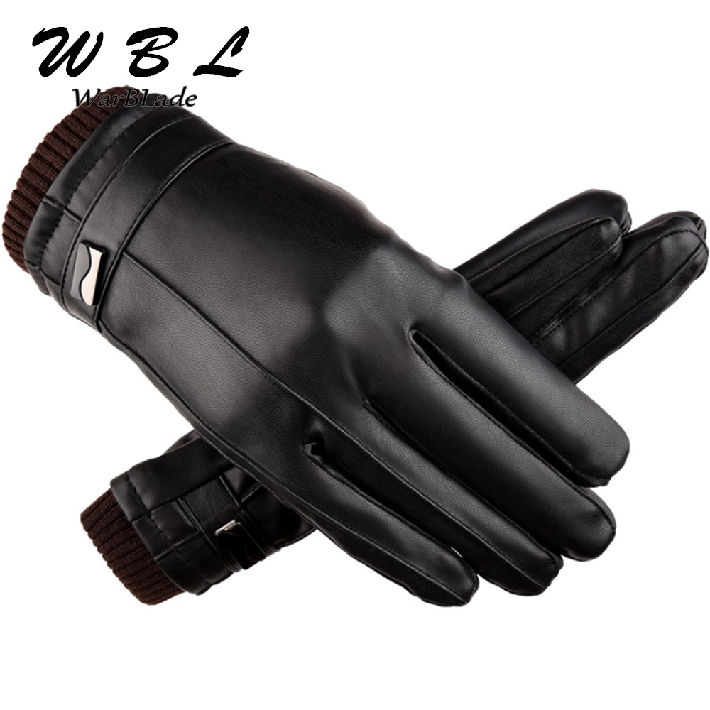 Hot Men's Luxurious PU Leather Winter Driving Warm Gloves Cashmere Tactical Gloves Black Drop Shipping High Quality 2018