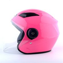 Nuoman Electric Motorcycle Helmet Vintage Style Cruiser Touring Chopper Street Bike Scooter with Clear Lens Shield Pink
