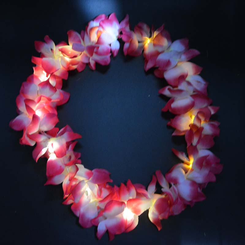Kvinna Man Kids Girl Boy LED Light Up Hawaii Flower Leis Garland - Semester och fester - Foto 3