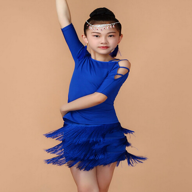High Quality Child Short Sleeve Latin Dancewear Elastic Slim Breathable 3 Layers Tassel 4 Shoulder Girdles Girl Dance Dress child female slim stripe color new modern dance dress latin stage up to 1940