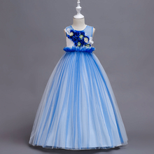 New pattern  girl dress sleeveless Wedding presiding long Flower princess girls dresses for