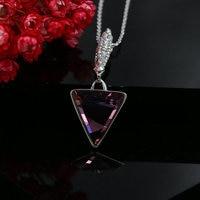 Geometric Triangle Rhinestone Pendant Necklace Austrian Crystal Women Fashion Jewelry Wholesale