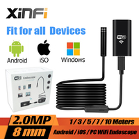 8mm 2 0MP IOS Android Wifi Endoscope 1m 3m 5m 7m 10m Cable Mini Sewer Camera