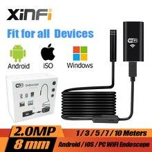 8mm 2.0MP iOS Android Wifi HD Endoscope 1m/3m/5m/7m/10m Soft cable mini camera Borescope pipe camera Snake Camera car inspection