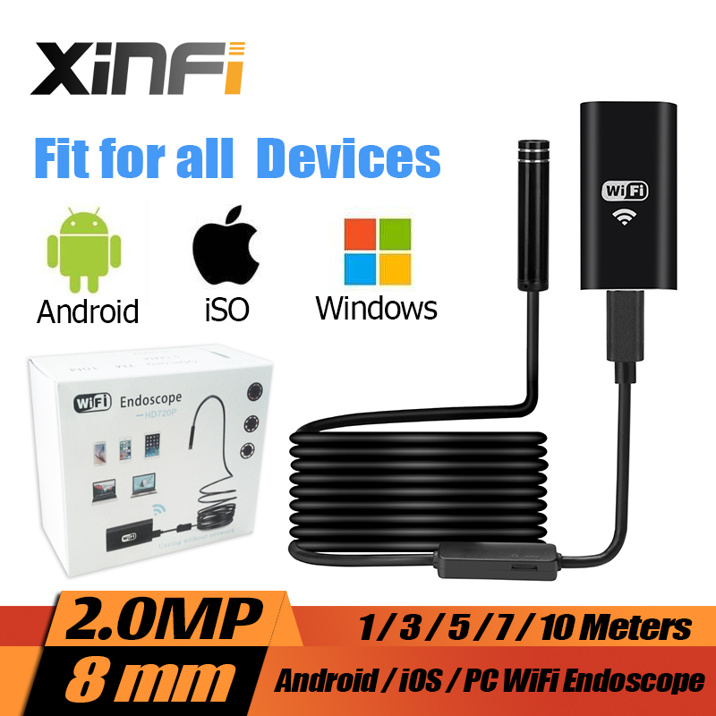 imágenes para 8mm iOS Android Wifi 2.0MP HD Endoscopio 1 m/3 m/5 m/7 m/10 m cable Soft mini Boroscopio cámara de inspección tubo de la Serpiente cámara de coche