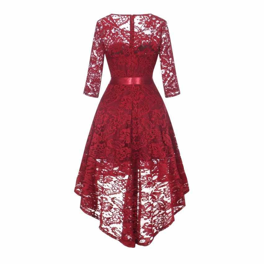 2019 кружевное Макси Платье милое винтажное женское длинное платье розовое вино красное асимметричное Кружевное Платье Vestidos De Fiesta Tuxedo Jurk Robe Femme