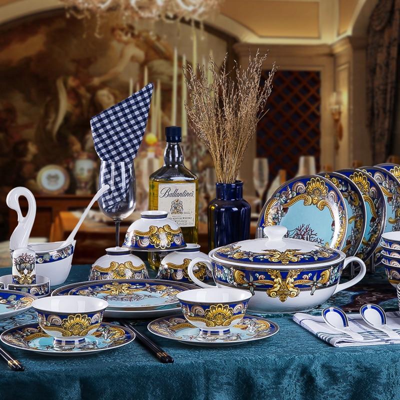 Роскошный синий океан костяного фарфора посуда наборы посуды пластинами Западной клуба высококлассные Сердце моря Керамика посуда