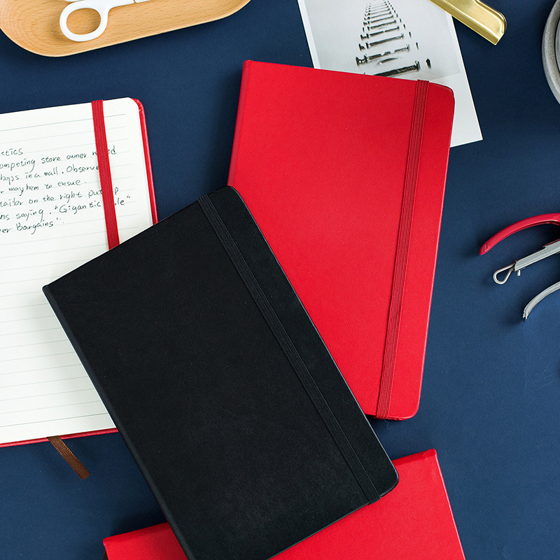 Fashion Business PU Leather A5 Notebook Portable Black Red Book Travel Journal Planner Diary Stationery Office & School Supplies high quality pu cover a5 notebook journal buckle loose leaf planner diary business buckle notebook business office school gift
