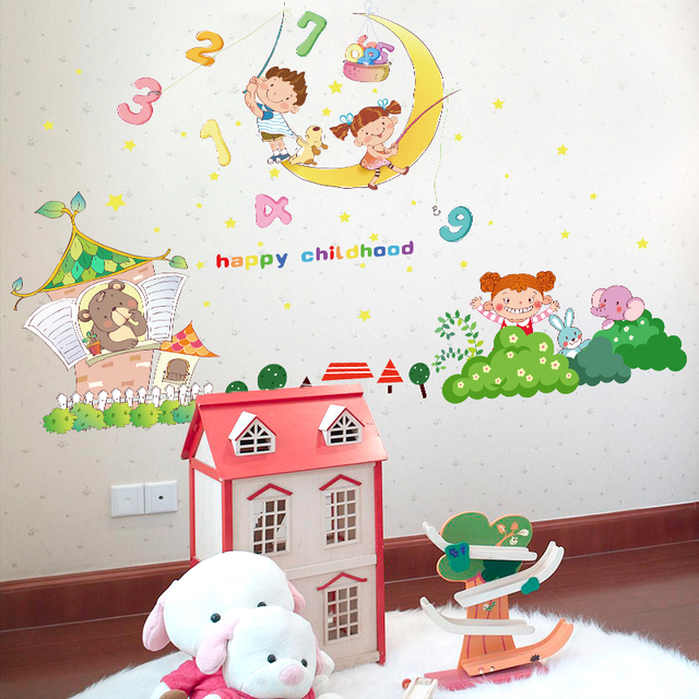 Zs Sticker Happy Childhood Wall Stickers For Kids Rooms Wall Decorations  Nursery Decor Children Mural Decal
