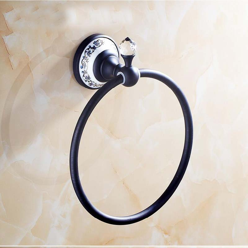 ФОТО Oil Rubbed Bronze Brass Bathroom Towel Rack Holder Crystal Hanger Ceramic Holder