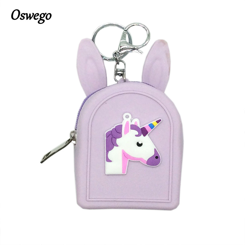 Oswego Mini Coin Purse Cartoon Unicornio Zipper Silica Gel Waterproof Coin Wallets Lovely Protable Small Key Money Girl Purse