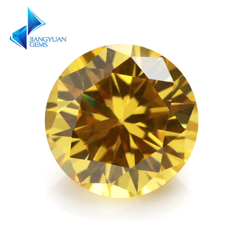 3~16mm 5A Golden Yellow CZ Brilliant Round Cut Crystal Material Zircon Stone Lab Greated Gems