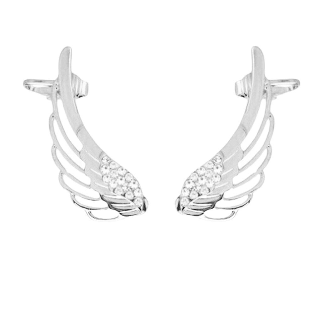 Fashion 1 pair Punk Rhinestone Clip Earrings For Women Angel Wing Gold Earring Ear Cuff Fine Jewelry