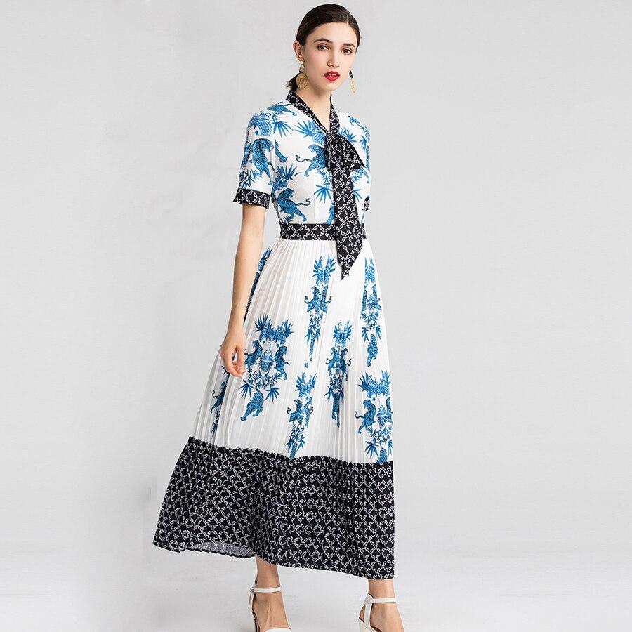 VERDEJULIAY luxe imprimé robes de piste 2019 été mode arc col robes élégantes Patchwork dames longue robe blanche