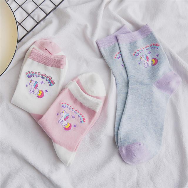 Cute Unicorn Printed Crew Length Women's Socks
