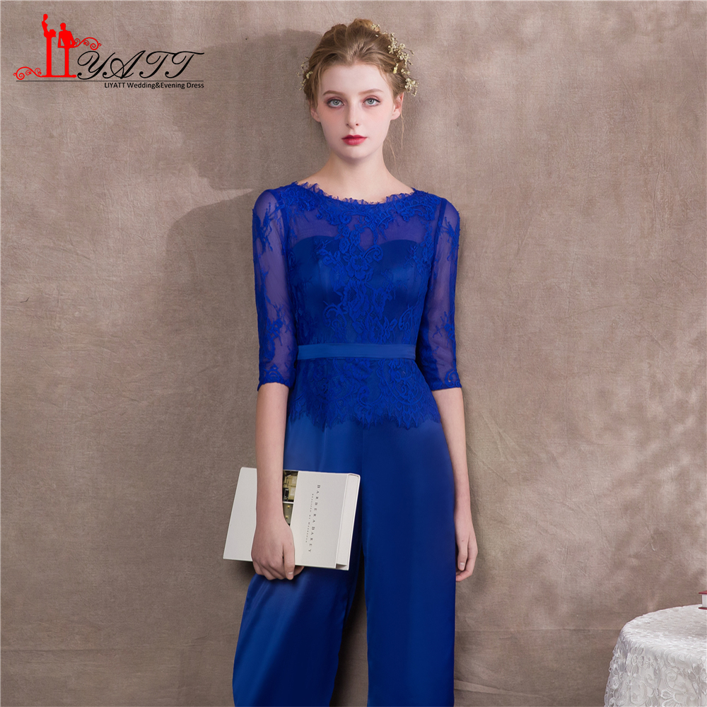 Liyatt 2018 Royal Blue Mother Of The Bride Pants Suits Lace Satin