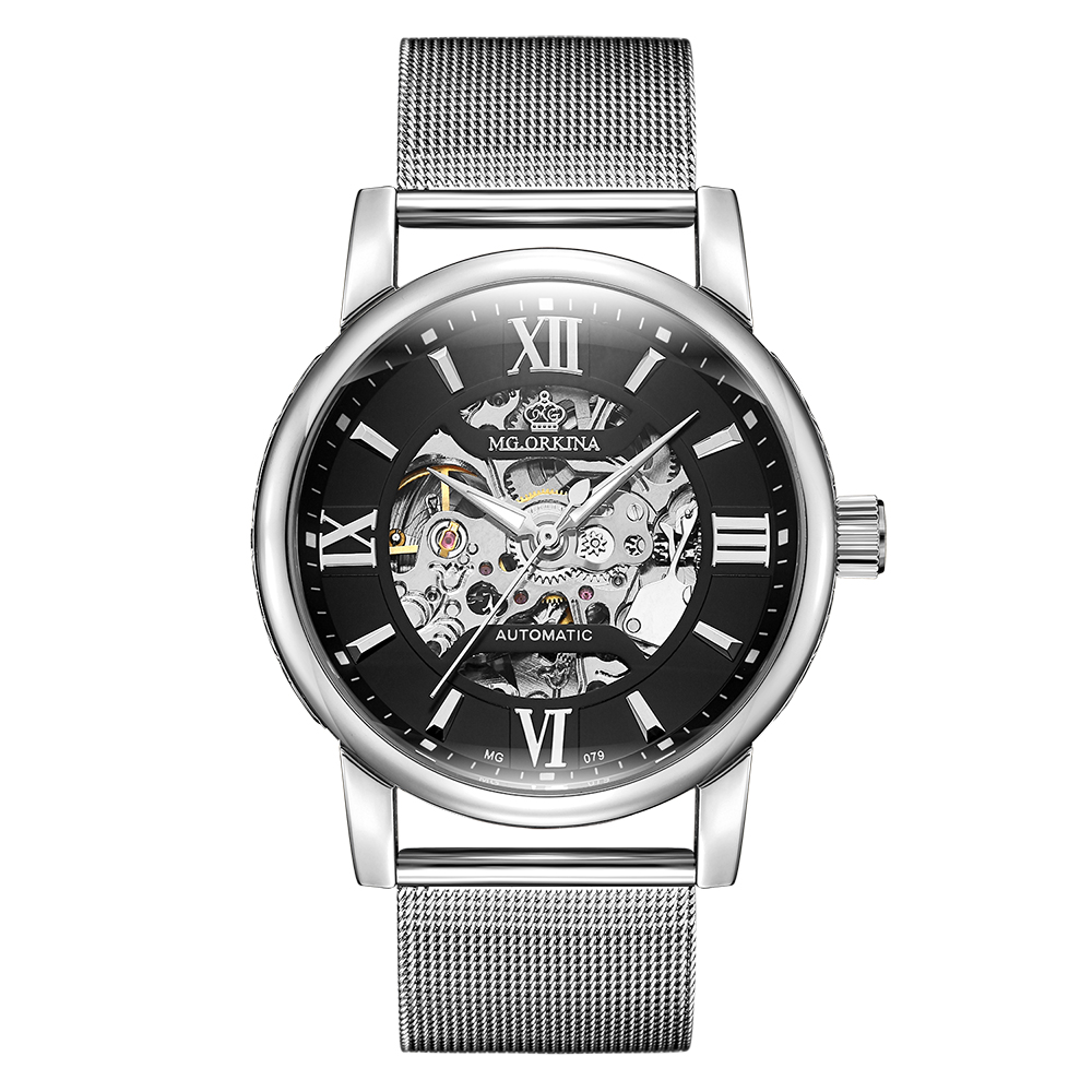 ORKINA 2018 Male Clock Skeleton Luminous Dial Mesh Stainless Steel Band Relogio Masculino Mechanical Automatic Men Wrist Watch orkina male watches skeleton auto mechanical men wrist watch mesh band heren uhr automatic wristwatches