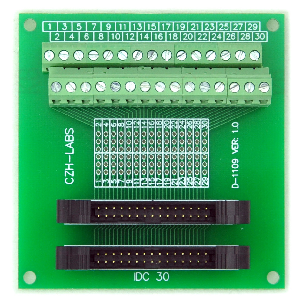 IDC-30 2x15pins 2.0mm Dual Male Header Breakout Board, Screw Terminal Connector.