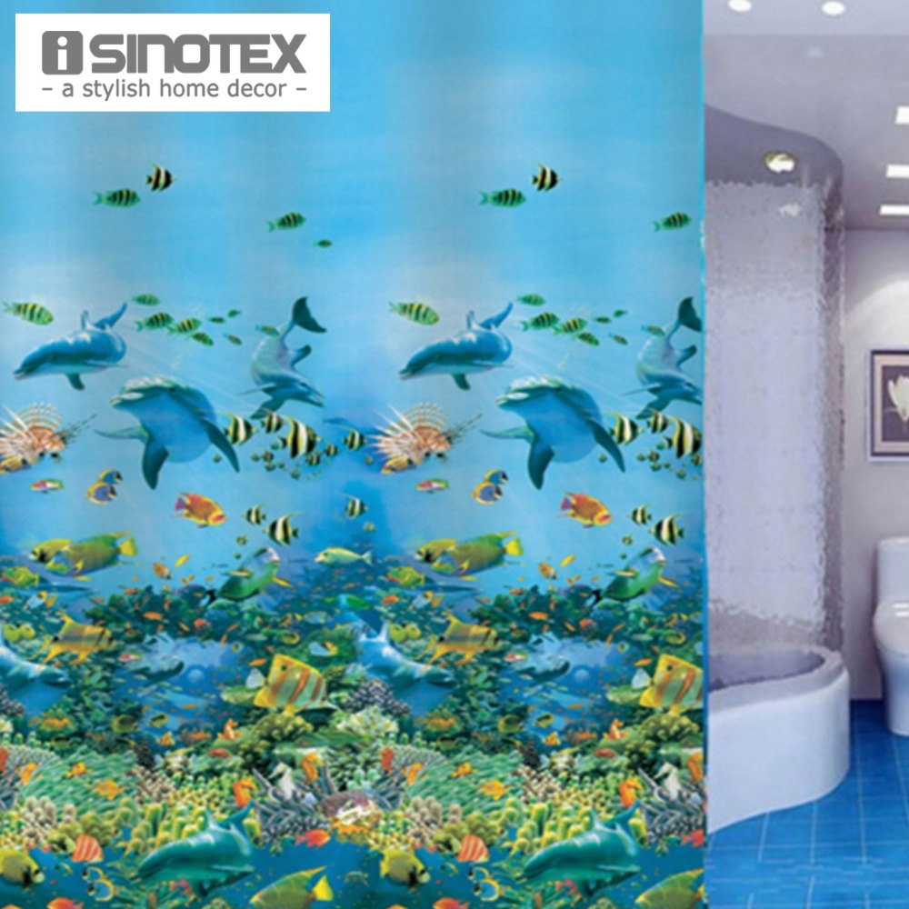 Ocean shower curtains - Shower Curtain Ocean Sea Scence Style Waterproof Fabric With 12 Hooks Home Bathroom Bath 180x180cm