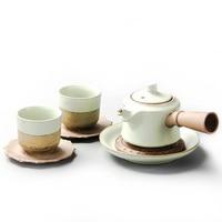 3pcs Chinese Travel Kung Fu Tea Set Ceramic Portable Teacup Porcelain Service Gaiwan Tea Cups of Tea Ceremony Teapot B003