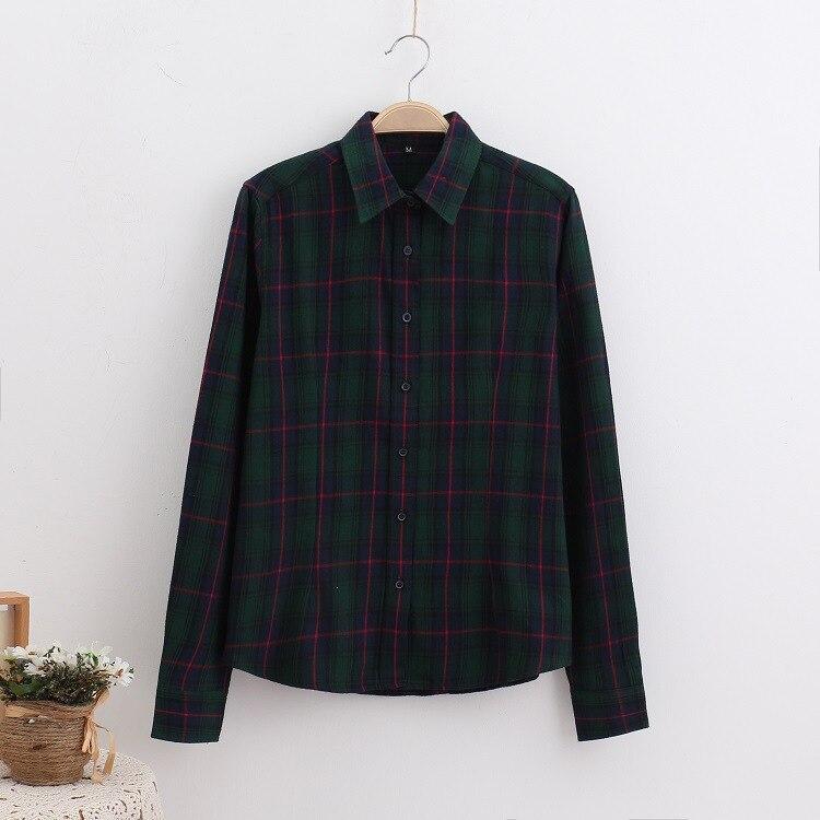 2018 Fashion Plaid Shirt Female College Style Women's Blouses Long Sleeve Flannel Shirt Plus Size Casual Blouses Shirts M-5XL 35